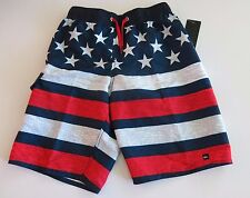 Quiksilver Big Boys L Board Swim Trunks Shorts Mesh Lined Red White Blue Flag