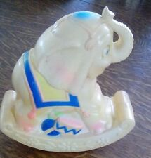 Vintage Plastic Elephant Rocking Toy with Bell