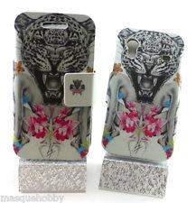 Funda Carcasa Piel Cuero Dibujos Samsung Galaxy ACE S5830 Leopardo & Mujer NUEVO