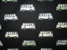 RETRO VW BUS MICRO PASTELS BLACK COTTON FABRIC BTHY