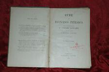 Libro Rime di Francesco Petrarca Interpretazione di Giacomo Leopardi 1908
