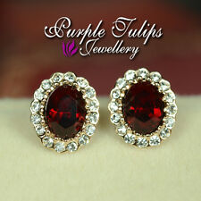 Stud Earrings Made With Swarovski Crystals 18Ct Rose Gold Plated Elegant Ruby