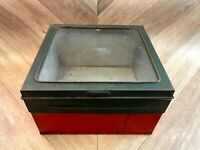 Vintage British Shop Counter Display Box - Metal with Glass Lid, Retro, Prop