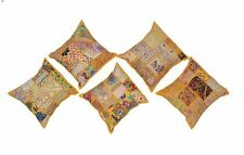5 PCs Indian Patchwork Yellow Pillow Case Sofa Bed Cushion Cover Set