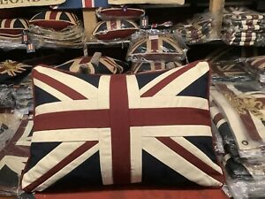 Union Jack / Uk Tapestry Cushion By Woven Magic (12x18in Vintage white )