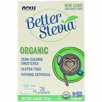 Now Foods BETTER STEVIA Zero Calorie Sweetener 75 Organic Packets 2.65 oz (75 g)