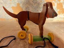 DDR Holz Hund -RAR- Spielzeug Holzspielzeug Antikspielzeug Nachziehtier Kinder