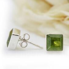 91670d0dbd74 Peridoto Pendientes Plata Auténtica 925 Cuadrado Cutstone Anguloso Verde Qs