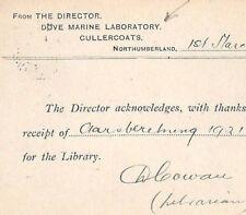 KK112 1924 GB SCIENCE *Dove Marine Laboratory* Cullercoats Northumbs Card Norway