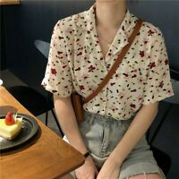 Womens Loose Floral Shirt Blouse Short Sleeve Casual Summer Vintage Style Black