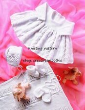(293) Heirloom Baby Dress Bonnet Bootees Mittens Blanket, 4ply Knitting Pattern