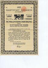 DEUTSCHLAND MANNHEIM  HAUPTSTADT MANNHEIM 1922