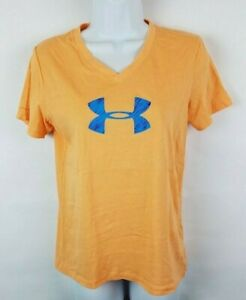 Under Armour Loose FIt Athletic V-Neck Fitness Yellow Short Sleeve Women Small