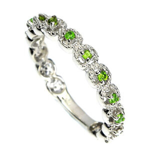 Unheated Round Chrome Diopside 14K White Gold Plate 925 Sterling Silver Ring 7