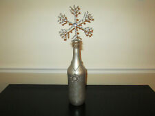"Large 18.5"" Handmade Decorated Beaded Snowflake Bottle Art, Holiday, Christmas"