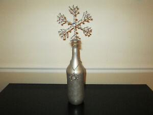 """Large 18.5"""" Handmade Decorated Beaded Snowflake Bottle Art, Holiday, Christmas"""