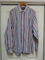 RALPH LAUREN POLO Long Sleeve 100% Cotton Made in Italy striped Shirt Sz 18