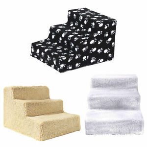 3 Steps High Density Foam Pet Stairs Puppy Cats Dog Ladder Ramp for High Bed