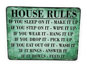 HOUSE RULES Novelty 9X12 Aluminum Sign for Door Wall Gameroom Kitchen
