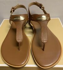 New - Michael Kors Luggage Leather Plate Thong Sandals Size 9.5