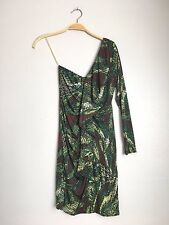 T-BAGS Los Angeles One Shoulder Asymmetrical Draped Printed Dress Green S $228