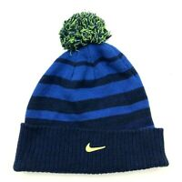 Nike Cuffed Beanie Hat Cap Youth One Size Navy Blue Lime Green Cable Knit Pompom