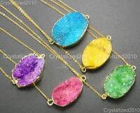 Natural Druzy Quartz Agate Charm Pendant Necklace Healing Beads 18K Gold Chain