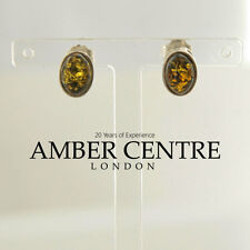 Oval Shaped Baltic Amber Stud Earrings In 925 Silver- RRP £15- ST0090