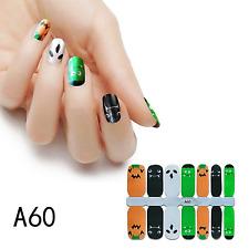 Halloween green orange color real nail polish strips A45 street art wraps