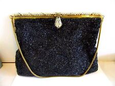 BLACK SMALL BEADS BEADED BAG FAUX PEARL ACCENTS SNAKE CHAIN SATIN LINING VINTAGE