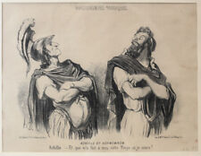 Honore Daumier France 1808 -1879  Lithograph Physionomies Traciques No 1 Framed