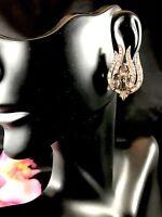 60'S CROWN TRIFARI RHODIUM CRYSTAL BLACK DIAMOND RHINESTONE FLAME CLIP EARRINGS