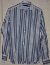 Burberry London Mens Med Long Sleeve Button Up Blue Lavendar Multi Stripe Shirt