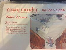 mary maxim stamped cross stitch table cloth 52 x 70 spring lilacs new free ship