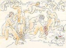 GERHARD KETTNER - Liebesszenen - Kugelschreiber & Aquarell 1990