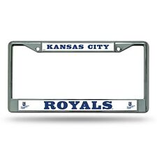 KANSAS CITY ROYALS CAR TRUCK TAG METAL LICENSE PLATE FRAME CHROME WHITE MLB