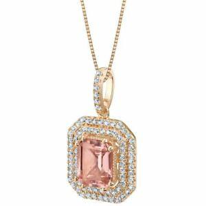 3Ct Cushion Pretty Cut Morganite Diamond Double Halo Pendant 14K Rose Gold Over