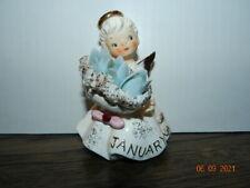 """#489 4 1/4"""" Vintage Geo Lefton Angel Figurine Spaghetti January snowdrop garnet"""