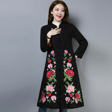 Women Cotton Embroidery Chinese Style Trench Coat Parka Jacket Ethnic Padded New