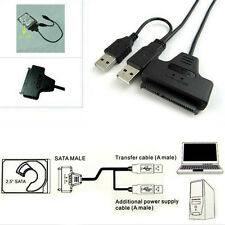 Hard Disk Drive SATA 7+15 Pin 22 to USB 2.0 Adapter Cable For 2.5 HDD Laptop NEW