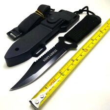 Scuba Diving Steel Straight Outdoor Survival Camping Tactical Knife with ABSCase