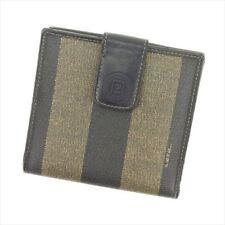 Fendi Wallet Purse Pecan Black Beige PVC leather Woman Authentic Used S964