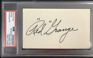 Red Grange Signed Index Card NFL Football HOF Autograph Chicago Bears PSA/DNA