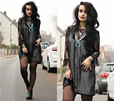 "ZARA ""Evening Collection"" noir brillant velours & Dentelle Court Robe Taille S UK 8"