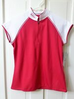 LARGE Women's Schwinn Pro Red & White Cycling Jersey Zipper Pouches Bike Bicycle