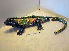 """Ceramic Iguana Gecko 26"""" Mexico Pottery Hand Painted Cobalt blue signe"""