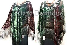 Silk Burnout Velvet Poncho Shawl Top Hand Dye Brown Green Ombre Maya Matazaro
