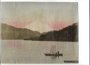 Japan albumen print large tinted T Fukasawa Kobe Lake of Hakone LF3