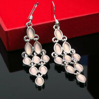 925 Silver Dangle Drop Earrings Ear Hook Moonstone Women Elegant Jewelry Gift
