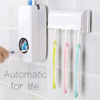 Auto Automatic Toothpaste Squeezer Dispenser +5 Toothbrush Holder Set Rack M#&@&